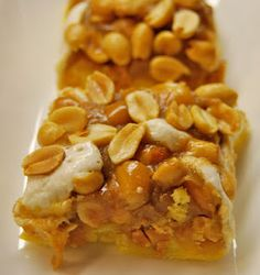 """""""payday"""" bars - yellow cake mix, peanuts, mini marshmallows, a few other ingredients in a 13 x 9 pan. Easy!"""