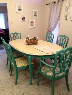 Antique 1960s Turquoise Dining Table and Chairs / painted set  (different seat covers)