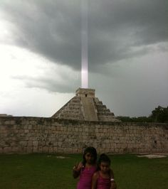The end is near; actual photo of the Mayan ruins of Chichen Itza. As you can see, the Mayan's communication lasers have already begun sending signals to the mothership to destroy earth. (Lightening bolt in background.)
