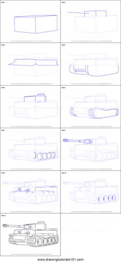 How to Draw a Tiger Tank Printable Drawing Sheet by DrawingTutorials101.com