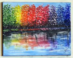For Sale at www.charbensonarts.com Rainbow Reflections Original Acrylic Canvas Painting Acrylic Painting Techniques, Acrylic Paintings, Your Paintings, Fall Tree Painting, Rainbow Water, The Art Sherpa, Water Walls, Acrylic Canvas, Autumn Trees