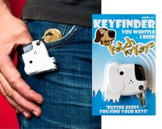 fetch my keys keyfinder. just whistle (as long as your within hearing range) and it will beep and flash