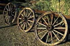 Old wagon wheels ...relics of the past.
