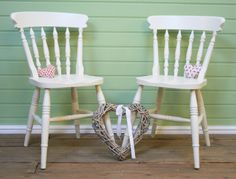 Pair Of Solid Pine Spindle Back Farmhouse Dining Chairs In F&b **shabby Chic