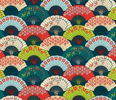 Japanese Fans Bright Patterns fabric by pinkowlet on Spoonflower - custom fabric
