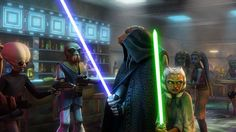 Ahsoka and Plo Koon on the defensive in a cantina on Coruscant.