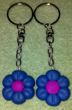 Blue Flower Polymer Clay Keychain by NormaCreativeJewelry on Etsy, $5.00