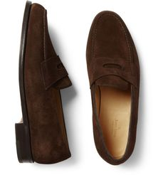 Handcrafted from supple suede, they are the height of comfort and style. Team them with jeans or chinos for an assured weekend look. Shown here with [Kingsman suit [Brioni shirt Penny Loafers, Loafers Men, Kingsman Suits, Mr Porter, Dark Brown, Oxford Shoes, Dress Shoes, Luxury, Casual