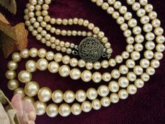 Stunning Vintage Double Strand Faux Pearls with Sterling Clasp by EyeSpyGoods on Etsy