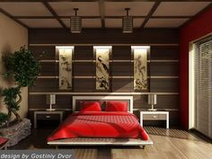 What Makes Japanese Style Bedroom Different? : How To Decorate Japanese Style Bedroom. How to decorate japanese style bedroom. Asian Style Bedrooms, Asian Bedroom, Bedroom Red, Bedroom Themes, Bedroom Styles, Home Decor Bedroom, Bedroom Designs, Bedroom Furniture, Bedroom Wall