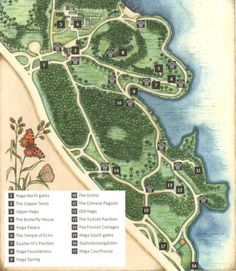 This is a map of modern Haga Park, though much of the garden is essentially unchanged since Gustav's time.