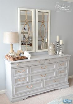 How to style a dresser for the home bedroom dressers low master decorating ideas small spaces . Grey Bedroom Furniture, Bedroom Dressers, White Furniture, Diy Furniture, Gray Bedroom, Diy Dressers, Painted Dressers, Bedroom Furniture Makeover, Furniture Market