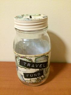 Travel Fund. Money Glass Jar with coin slot lid. Handmade, personalised also available. Saving can be fun and look awesome!