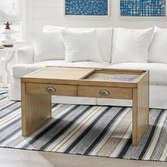 Kemper Puzzle Coffee Table Entryway Furniture, Home Office Furniture, New Furniture, Table Furniture, Outdoor Furniture, Diy Coffee Table, Decorating Coffee Tables, Diy Table, Jigsaw Puzzle Table