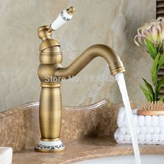 Basin Antique Brass Finished faucet Mixer Taps Deck Mounted Luxury Appearance with porcelain AF1080