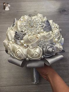 Made to order Brooch Bouquet Wedding Bridal Flowers Satin Roses Bride Bridesmaids EMR-701 - Wedding table decor (*Amazon Partner-Link)