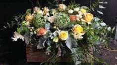 Vintage crate of flowers made for a wedding at a winery. Features Australian roses, Queen   Anne's lace, silver suede, hypericum and gum. Loving the peach tones 💐