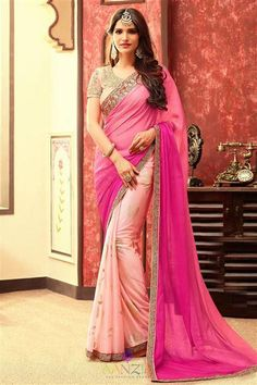 Chiffon Pink And Peach Designer Lace Work Saree With Blouse