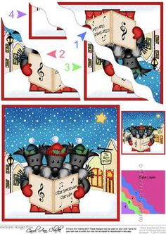 Xmas Singing Scottie Dogs Merry Carollers Wavy Corner on Craftsuprint - Add To Basket!