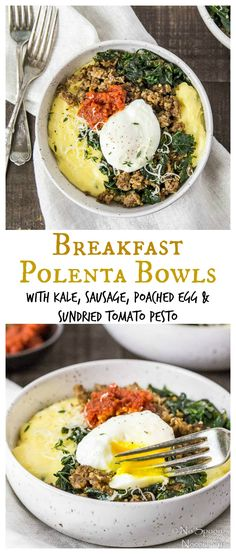 Breakfast Polenta Bowls with Sundried Tomato Pesto - Cozy & Comforting Breakfast Heaven!