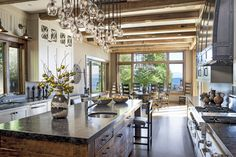 Kitchen in Lake Tahoe, CA by Jeff Andrews - Design Light is interesting over island