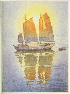 torii gallery: Sailing Boats, Morning Sunlight by Hiroshi Yoshida Japanese Drawings, Japanese Prints, Hiroshi Yoshida, Boat Drawing, Art Occidental, Boat Art, Japanese Painting, Parcs, Japan Art