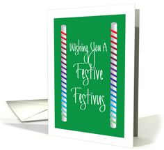 Festive Festivus with Rainbow Ribbon Wrapped Poles card (1149526) by Teri Nelson Kuster