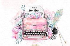 Watercolor vintage typewriter illustrations with romantic retro Ink-pot and peacock feather peonies - love story - valentines by Karamfila Siderova Planner Stickers, Diy Stickers, Typewriter Tattoo, Web Design Logo, Design Design, Craft Logo, Vintage Typewriters, Kelly Wearstler, Vintage Design