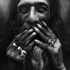 Black and white portrait of homeless man