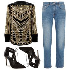 Balmain x H&M Jacket, Acne faded boyfriend jeans + Topshop black lace up pumps