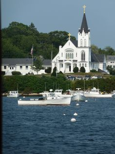 Boothbay Harbour, Maine  Truly one of my favorite places to attend Mass,Our Lady Queen of Peace.