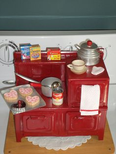 Vintage Little Lady Tin Toy Kitchen Stove LOADED with Goodies!