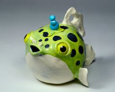Ceramic Teapot - Green Spotted Puffer Fish
