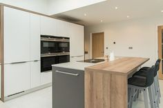 Our client built an extension to house an open-plan kitchen/dining area so we took that space and created an amazingly. Kitchen Room Design, Kitchen Decor, Kitchen Ideas, Open Plan Kitchen Dining, Kitchen Island, Best Hacks, German Kitchen, Functional Kitchen, Luxury Kitchens