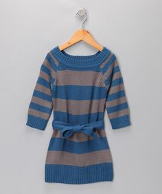 Take a look at this Cherry Stix Dark Blue & Gray Belted Sweater Dress - Girls by Blow-Out on #zulily today!   #zulily #fall