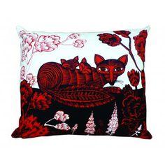 Cushion Fox & Cubs In Woodland Red and Black Chair Cushion