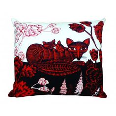 Cushion Fox & Cubs In Woodland Red and Black Chair Cushion