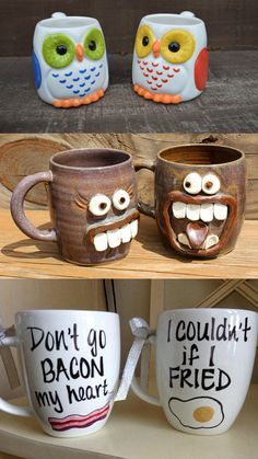 """These """"his and her"""" mugs will make your morning coffee much more romantic."""