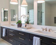 Bathroom remodel; vanity; cabinetry; mirror; decor; lighting; sink;fixture; flooring | Interior designer: Carla Aston / Photographer: Tori Aston