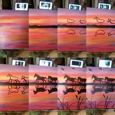 photo collage of step by step diy tutorial, abstract painting ideas, horses running along the sea, sunset sky with birds paintings sunset ▷ acrylic painting ideas to fill your spare time with Night Painting, Diy Painting, Watercolor Art, Art Painting, Horse Painting, Art, Painting Art Projects, Canvas Art, Canvas Painting Diy