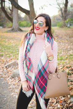 plaid scarf, chunky knit turtleneck, plaid blanket scarf, duck boots, sperry shearwater boots, tory burch robinson pebbled multi tote, winter style, fall style // grace wainwright from a southern drawl