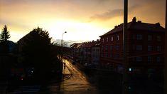 Evening city of Pilsen after the storm