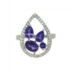 Four Stone Amethyst and White Topaz Fashion Sterling Silver Ring
