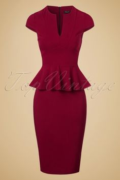 Vintage Chic Cap Sleeve Peplum Pencil Dress 100 20 19600 20160928 0005w