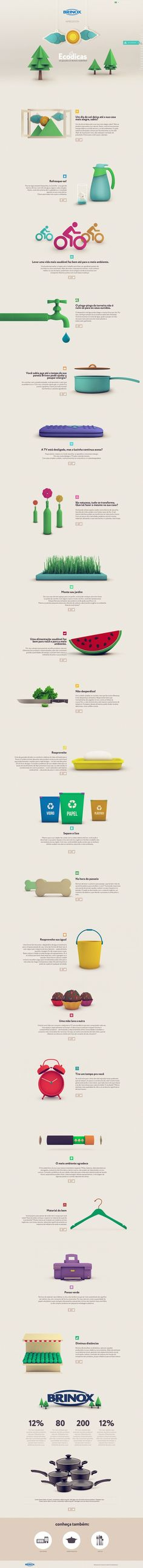 Eco Dicas - Brinox by Isabela Rodrigues, via Behance *** Ecodicas is a campaign of Brinox, housewares brand of southern Brazil. It is targeted for recycling, reuse and giving tips to conserve the environment.    It is a pleasure to work with the DM9Sul for a cause so important nowadays.    We all animated illustrations to be working on html5.