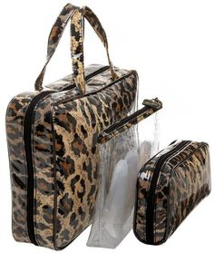 Fashion Leopard Travel Cosmetic Bag Set