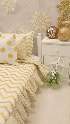 Gold and White Chevron American Girl 18 in. by RibbonwoodCottage