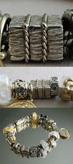 Brand New Persona Sterling Silver Baroque Barrel Charm Bead With Tags Retail $50