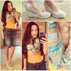 Aztec scarf, tank top and denim pencil skirt for a casual summer look! Merona wedges, initial necklace and Abercrombie braided belt