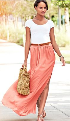 Coral Maxi , White Top + Skinny Brown Belt .